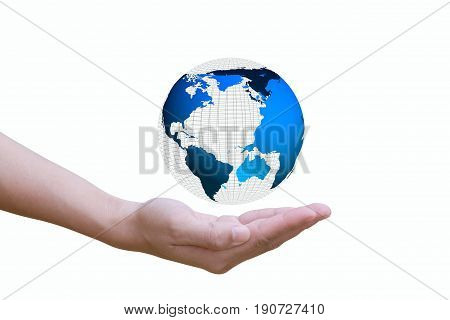 hand Open up And Have globe On a white background Elements of this image furnished by NASA.
