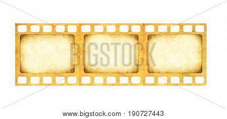 Retro filmstrip with grunge paper texture. Object isolated on white background