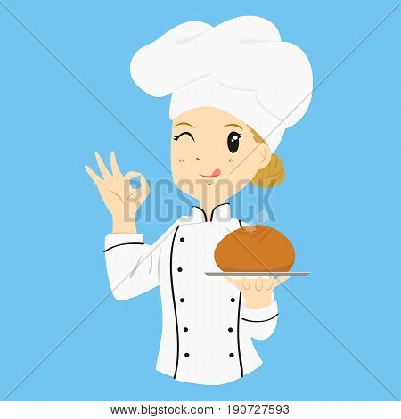 female baker carrying a bread bun. gestured ok sign and give a wink