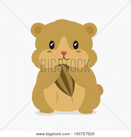 cute brown hamster holding a sunflower seed vector illustration.