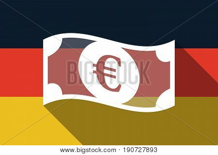 Long Shadow Germany Flag With  An Euro Bank Note