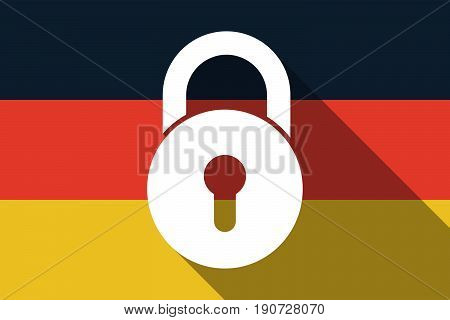 Long Shadow Germany Flag With  A Closed Lock Pad
