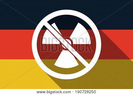 Long Shadow Germany Flag With  A Radioactivity Sign  In A Not Allowed Signal