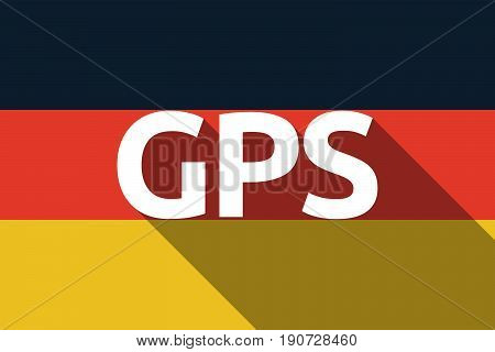 Long Shadow Germany Flag With  The Global Positioning System Acronym Gps