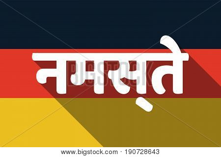 Long Shadow Germany Flag With  The Text Hello In The Hindi Language
