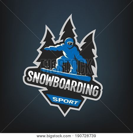 Snowboarding winter sports, logo, emblem, on a dark background
