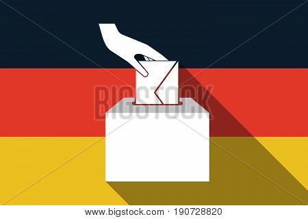 Long Shadow Germany Flag With  A Hand Inserting An Envelope In A Ballot Box