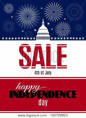 Happy Independence day sale banner with White house and Capitol building Washington DC symbol and fireworks. USA Birthday discount banner. Vector illustration