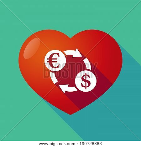 Long Shadow Heart With  An Euro Dollar Exchange Sign