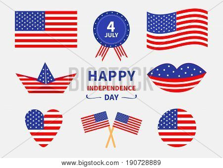 Happy independence day icon set. United states of America. 4th of July. Waving crossed american flag heart round shape cake badge with ribbons paper boat lips. White background. Flat design Vector