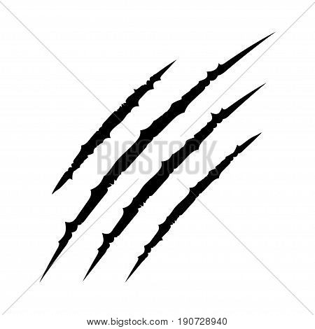 Black bloody claws animal scratch scrape track. Cat tiger scratches paw shape. Four nails trace. Funny design element. Flat design. White background. Isolated. Vector illustration