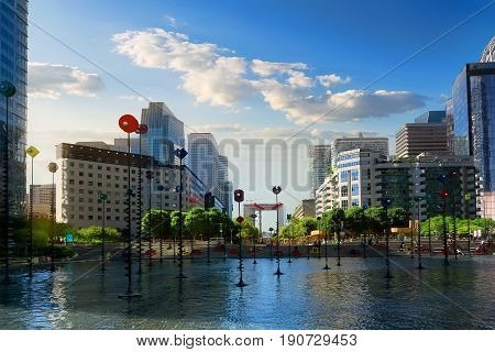 PARIS, FRANCE - AUGUST 22, 2016: View on basin and skyscrapers in modern parisian district La Defence