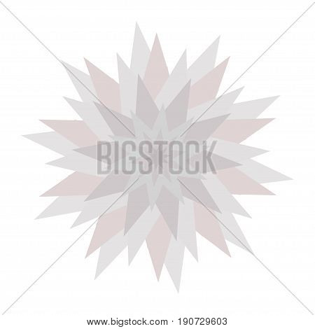 Graphic flower icon. Triangle star shape. Gray color. Cute abstract decoration element. Flat design. Isolated. White background. Vector illustration