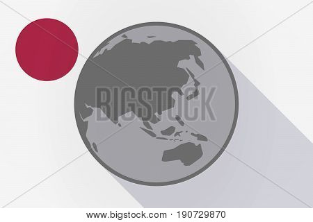 Long Shadow Japan Flag With  An Asia Pacific World Globe Map