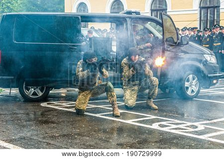 KYIV, UKRAINE, May 26, 2017; Students of the Kiev military lyceum of Ivan Bohun take part in the celebrations dedicated to the end of the academic year. Fragment of military exercises.