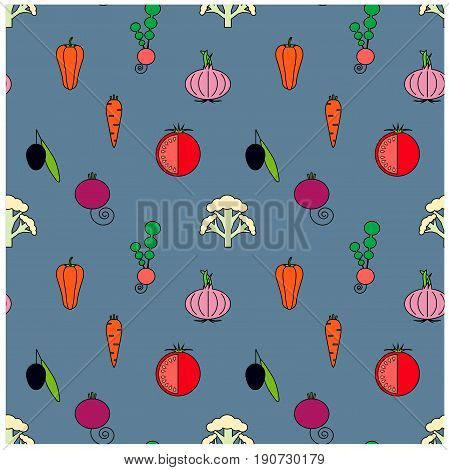 Seamless vegetables flat design pattern. Black olives, violet onions, red beets, white cauliflower, pink radishes, red bell peppers, tomatoes, orange carrots on blue stock vector illustration