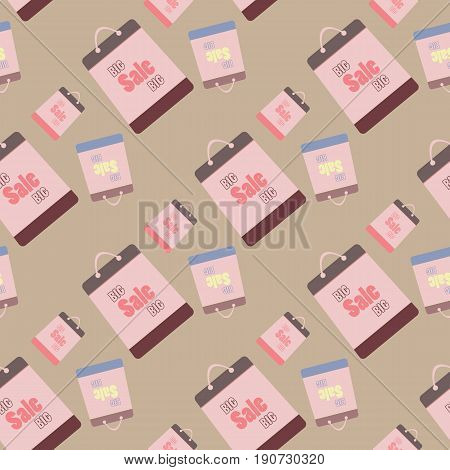 big sale vector seamless swatch. Texture with sale bags for your design. Eps10