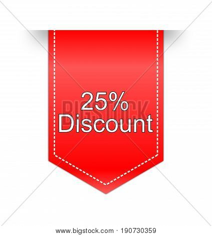 red 25% Discount label on white background - illustration