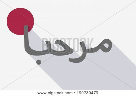 Long Shadow Japan Flag With  The Text Hello In The Arab Language
