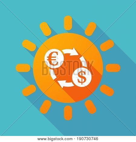 Long Shadow Sun With  An Euro Dollar Exchange Sign