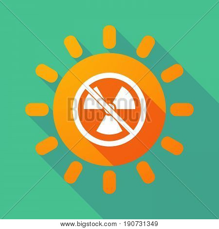 Long Shadow Sun With  A Radioactivity Sign  In A Not Allowed Signal