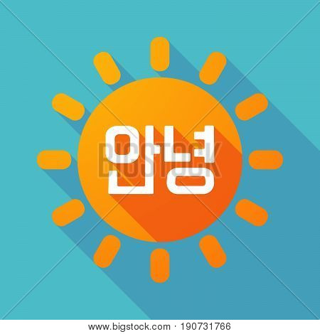 Long Shadow Sun With  The Text Hello In The Korean  Language