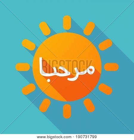 Long Shadow Sun With  The Text Hello In The Arab Language