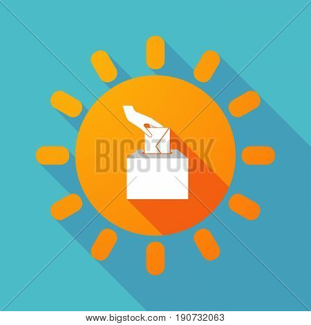 Long Shadow Sun With  A Hand Inserting An Envelope In A Ballot Box