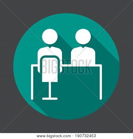 Job interview flat icon. Round colorful button circular vector sign with long shadow effect. Flat style design