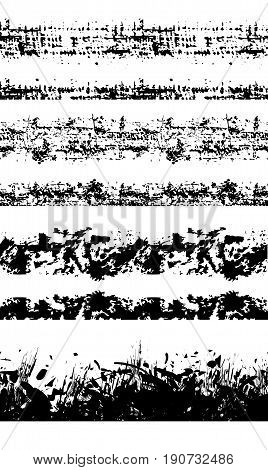 Set of seamless grunge borders with scrapes and scratches. Pencil strokes. Vector element for your creativity