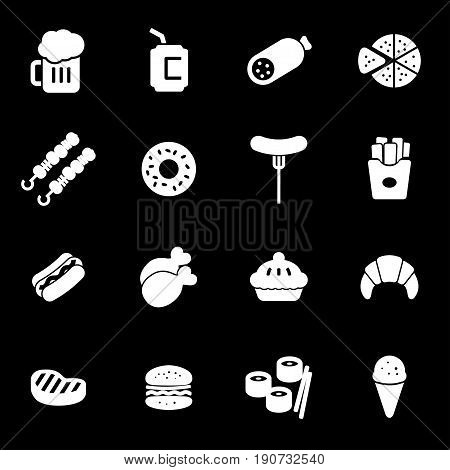 Vector white fastfood icons set on black background