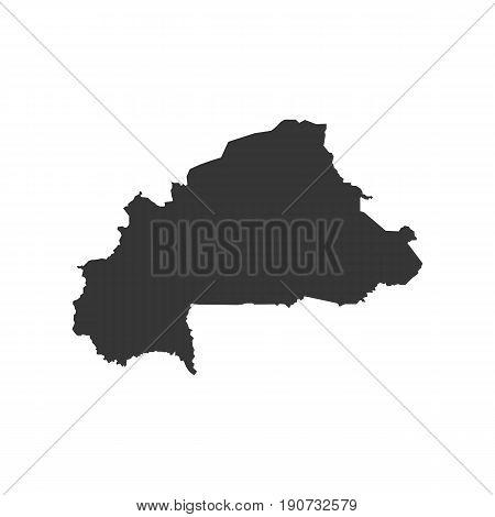 Burkina Faso map silhouette illustration on the white background. Vector illustration
