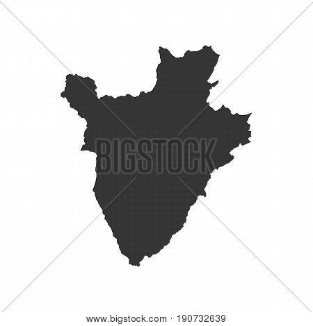 Burundi map silhouette illustration on the white background. Vector illustration
