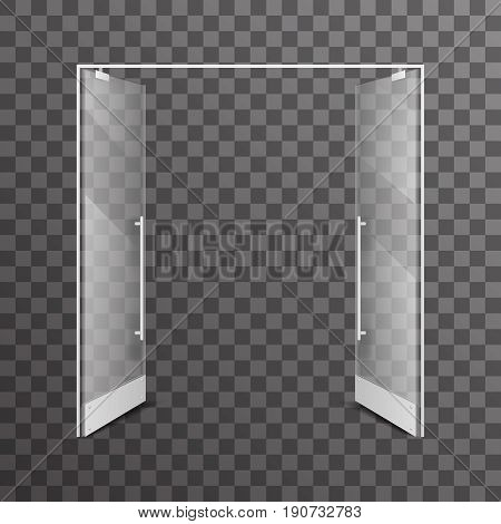 Open transparent isolated shop double doors realistic glass architectural design element interior vector illustration