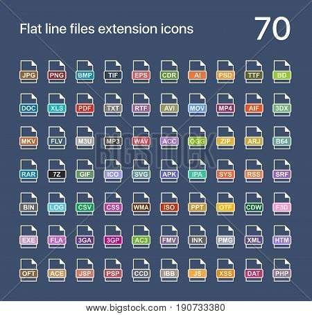 File extension flat vector icons. Sound, graphic, archive, picture, document, internet and system extensions
