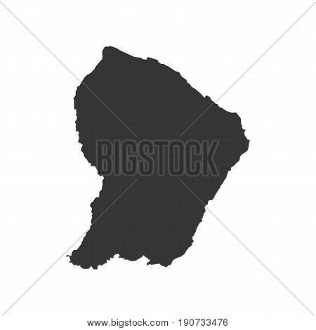 French Guiana map silhouette illustration on the white background. Vector illustration
