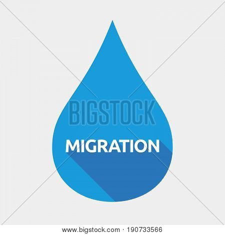 Isolated Water Drop With  The Text Migration