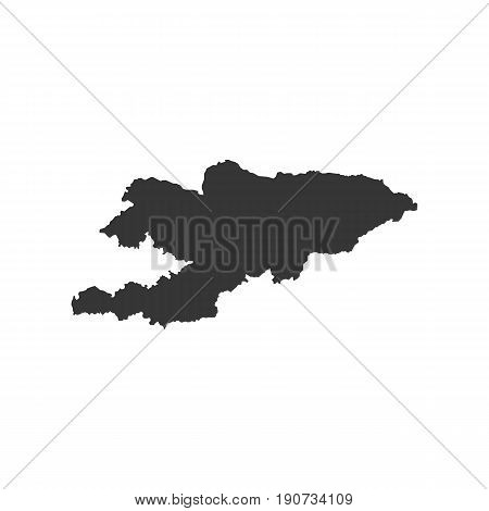 Kyrgyzstan map silhouette illustration on the white background. Vector illustration