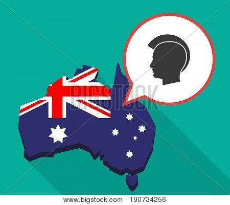 Long Shadow Australia Map With  A Male Punk Head Silhouette
