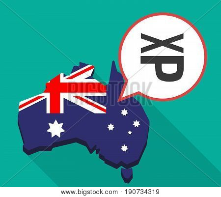 Long Shadow Australia Map With  A Tongue Sticking Text Face Emoticon