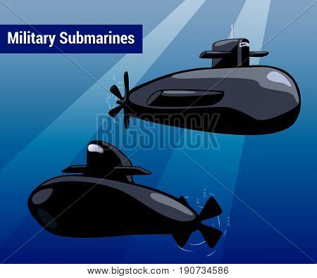 Military submarines in water. Black sub cartoon style vector illustration. Warship underwater in blue sea. Marine weapon drawing. Transport boat for undersea war. Nursery art submarines for boy design