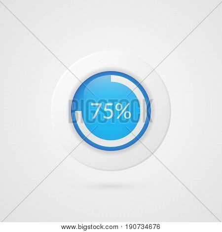 75 percent blue pie chart. Percentage vector infographics. Circle diagram isolated symbol. Business illustration icon for marketing presentation project data report information plan web design