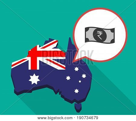 Long Shadow Australia Map With  A Rupee Bank Note Icon