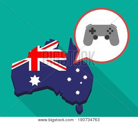 Long Shadow Australia Map With  A Game Pad