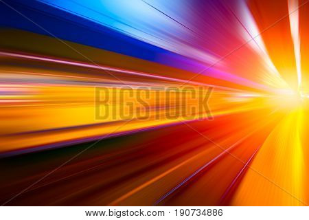 colorful move fastest super high speed concept Acceleration speedy drive motion blur of lightning abstract for background design.