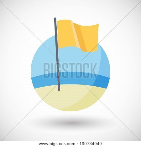 Caution icon Flat design of yellow warning of medium hazard flag on the beach with round shadow vector illustration