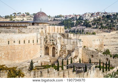 JERUSALEM ISRAEL - DECEMBER 8: The Al-Aqsa Mosque on the Temple Mount in Old City of Jerusalem Israel on December 8 2016
