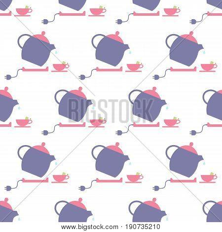 Tea pot pattern on the white background. Vector illustration