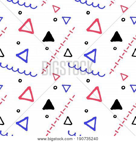 Abstract geometric vector seamless pattern in nautical palette. Seamless pattern in nautical colors. Child drawing vector pattern. Abstract zigzag and dots on white background. Nautical wrapping paper