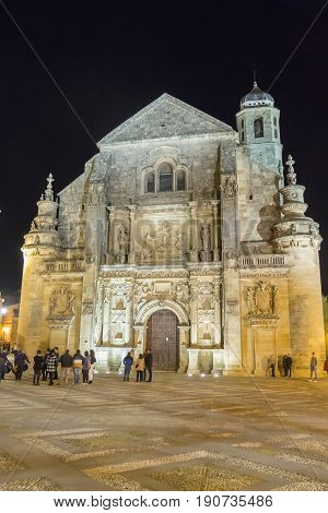Savior Chapel (El Salvador) at night Ubeda Jaen Spain